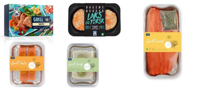 Nyheter: Tunfisk steaks fra Fiskemannen, burger av laks og torsk, ørret med sitrusrub, laks med spicy paprikasmør, torsk med sitron og basilikumsmør, alt fra Lerøy.