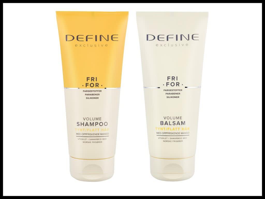 DEFINE SHAMPOO OG BALSAM EXCLUSIVE VOLUME 200ML: En serie for deg med fint og flatt hår. Den er beriket med oppfriskende mango.