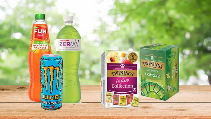 Sukkerfrie saftnyheter og Monster med fruktjuice finner du i alle KIWI-butikker fra uke 8, det samme gjør du med collection packs med Infuso og Green Tea fra Twinings.