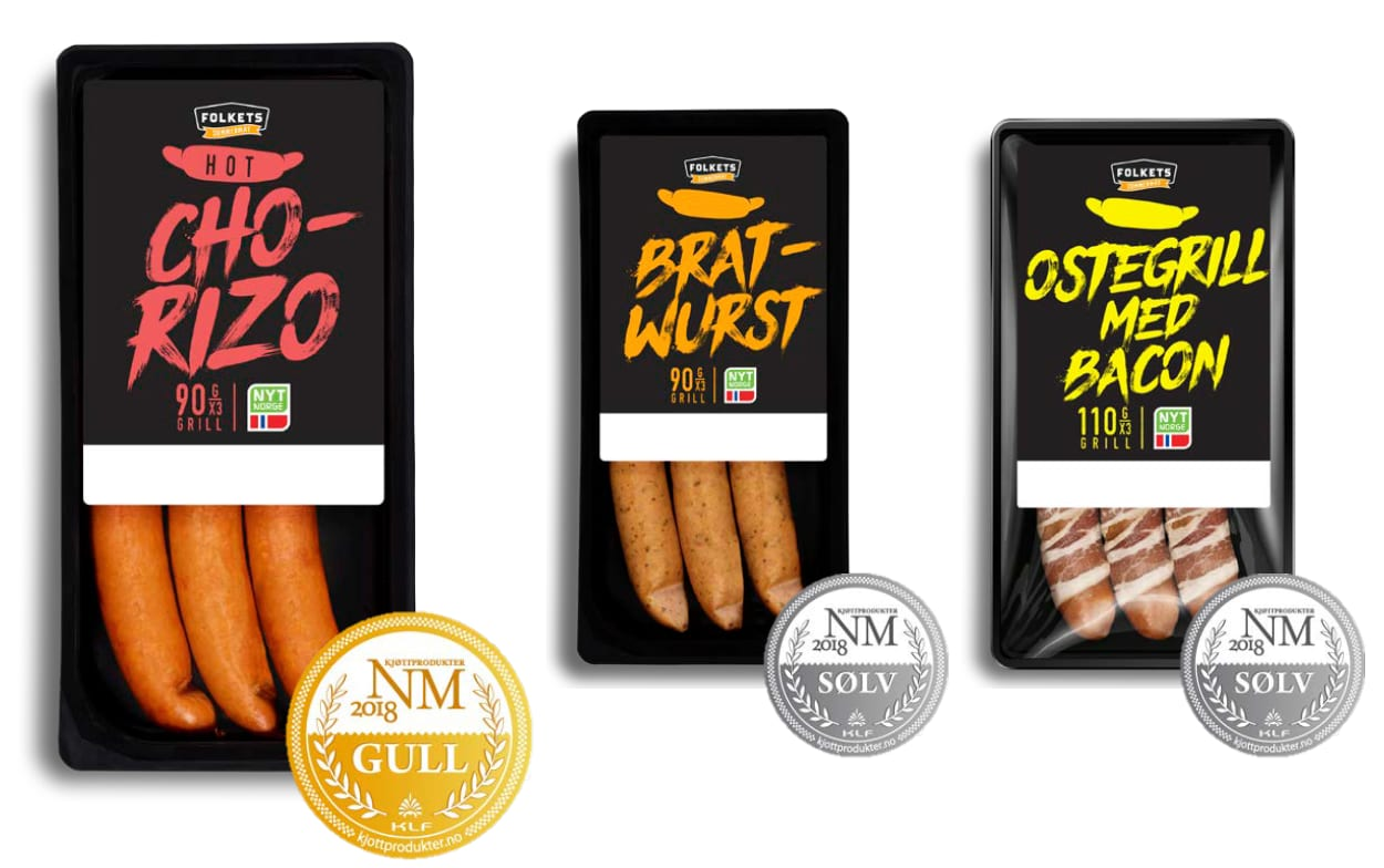 Våre pølsenyheter Hot Chorizo, Bratwurst og Ostegrill med bacon fikk alle medalje i NM i kjøttprodukter 2018