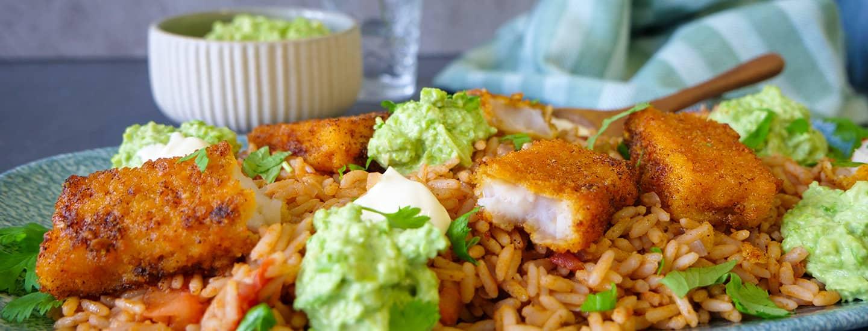 Hva med å prøve fiskepinner med krydret ris?