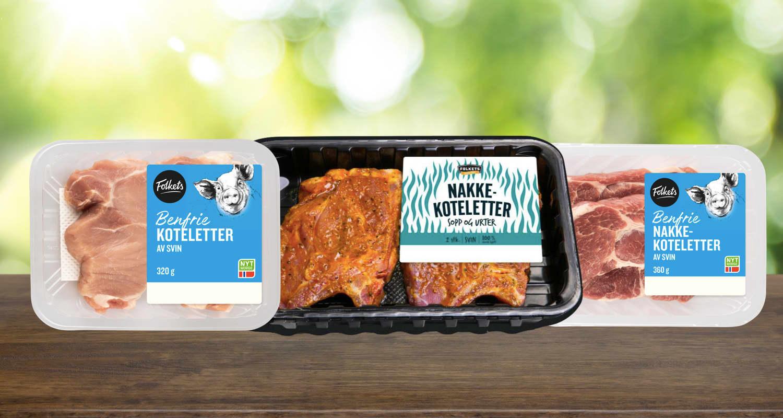 KIWI har også benfrie koteletter, samt nakkekoteletter med sopp og urter.