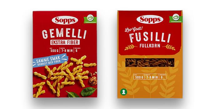 Nyheten Sopps Gemelli er en hvit pasta med ekstra fiber. Foretrekker du fullkornsvarianten, finner du også Sopps Fusilli fullkorn i alle KIWI-butikker.