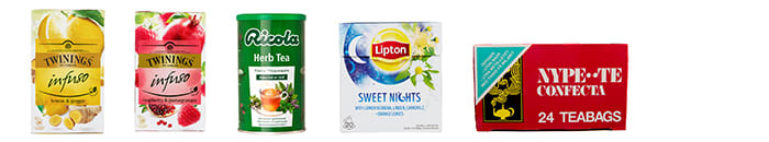 Twinings Infuso Lemon & Ginger, Twinings Infuso Raspberry & Pomegranate, Ricola Instant Urte-te, Lipton Herbal Infusion Sweet Nights, Confecta Nypete