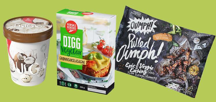 Vegan- og vegetar hos KIWI: Vegan-is fra Hennig Olsen, Fiks&Ferdig vegetarlasagne og Oumph!