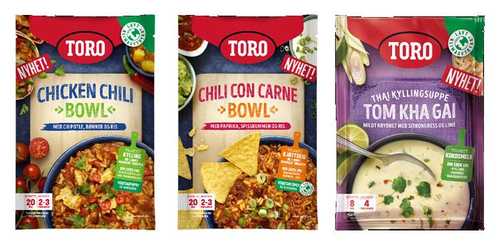 """TORO kommer med to nye gryter og en suppe. Visste du forresten av det nye """"klodemerket"""" hjelper deg med å finne produkter med lavt klimaavtrykk?"""