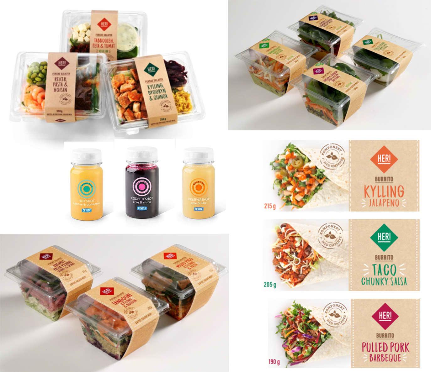 NYHET: Her er et utvalg lunsjprodukter som er på plass i utvalgte KIWI-butikker.