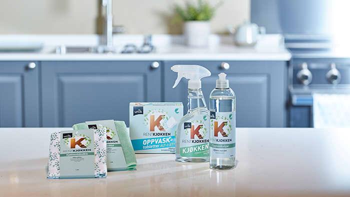 Rent Hjem Kjøkkenspray er blant produktene som nå har emballasje av plantebasert bioplast.