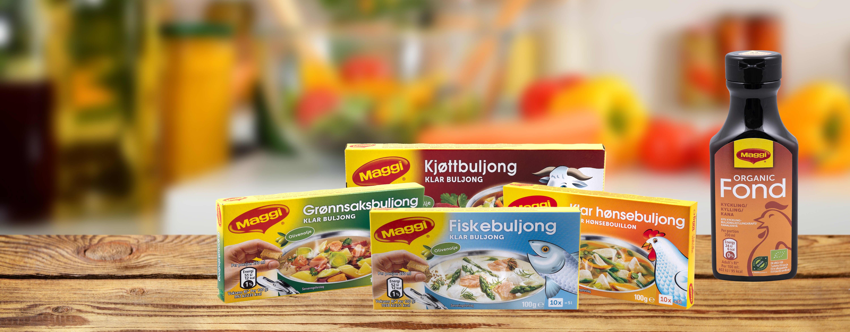 Disse buljongproduktene fra Maggi finner du i alle KIWI-butikker. I tillegg har de fleste butikkene flere typer fond og fondkopper.