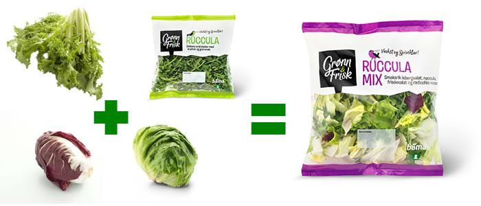 Mange opplever å få en del salat til overs ved å kjøpe én og én ingrediens. Med en ferdig salatmix fra Grønn & frisk unngår du mye rester i kjøleskapet.