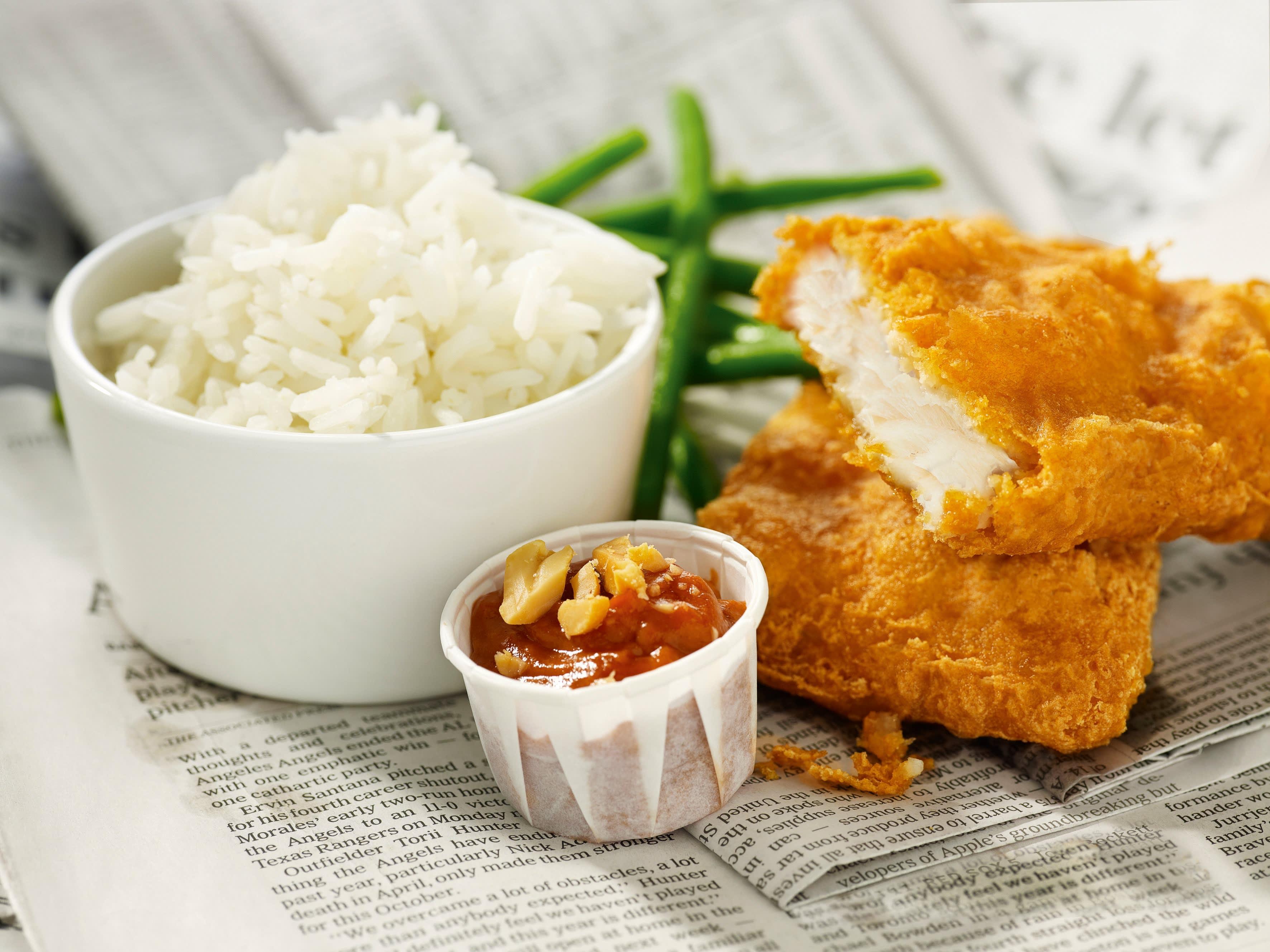 Oppskrift på Fish & Crisp med cruncy ketchup og jasminris
