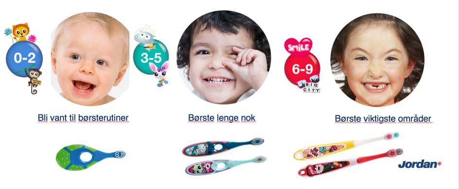 Tannbørsteserien Steps er utviklet for barn fra 0 til 9 år.