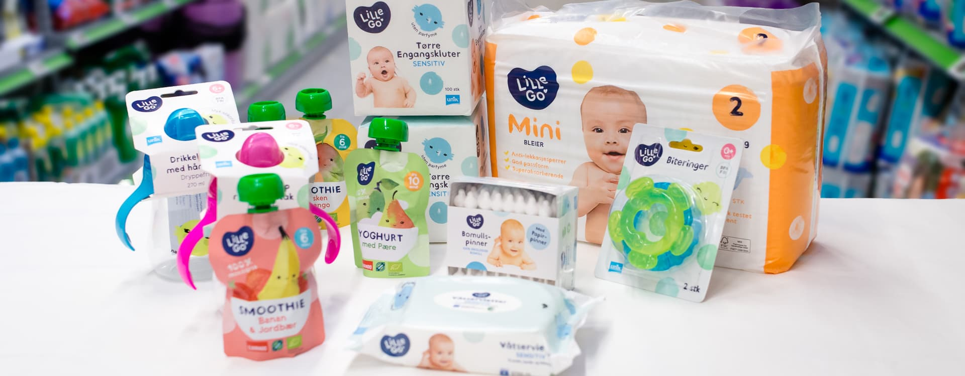 LilleGo'-serien inneholder både bleier, stelleprodukter, babyprodukter og klemmeposer.