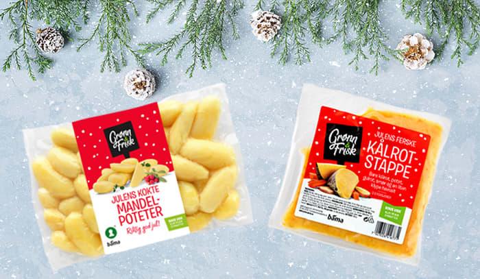 Julens kokte mandelpoteter og Julens ferske kålrotstappe fra Grønn & Frisk er begge med på å redusere bondens matsvinn.