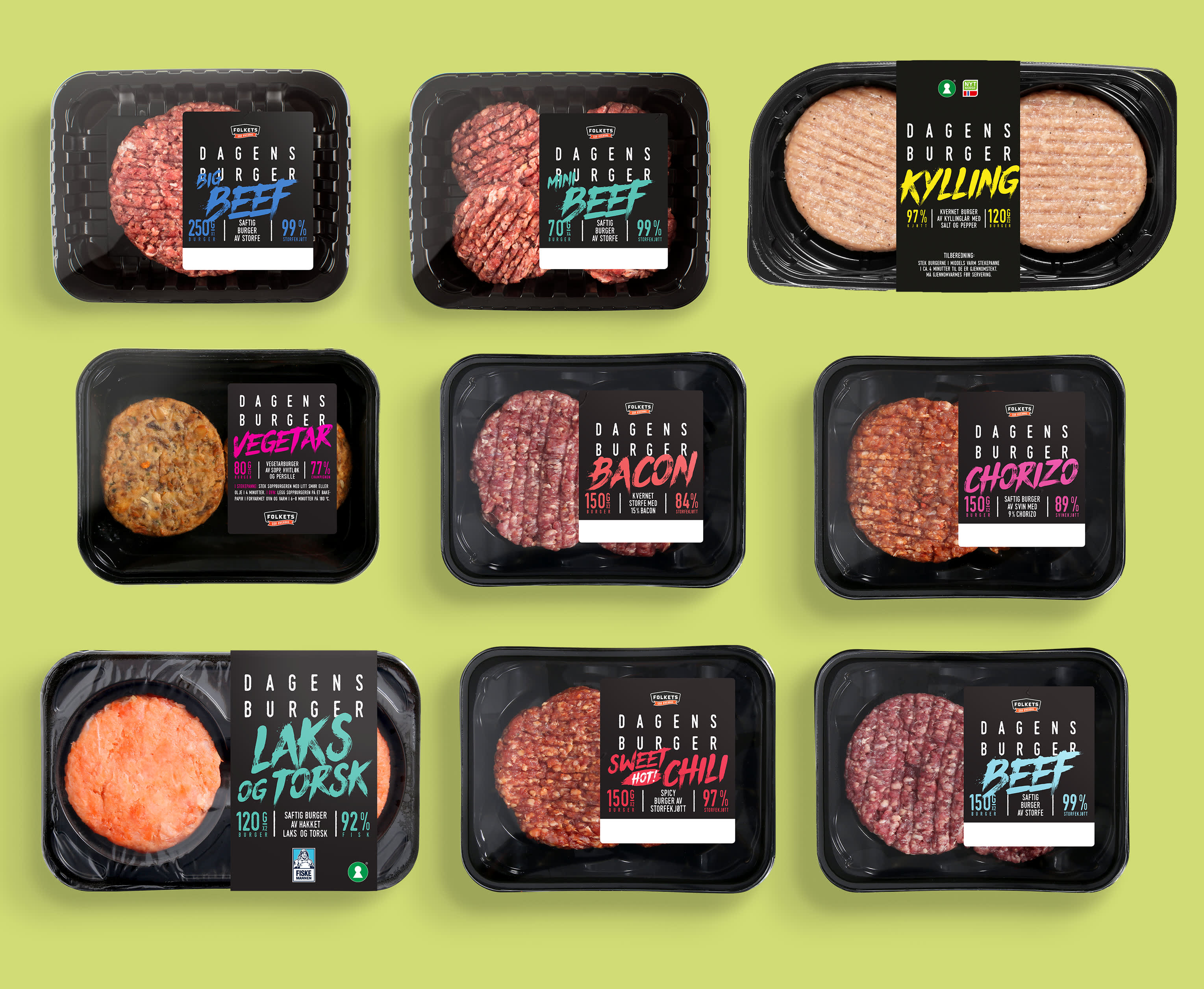 Burgere for alle: Nyhetene Big Beef 39,- og Mini beef 49,90, Kylling 29,-, Vegetar, Bacon 49,-, Chorizo 39,-, Laks og torsk 39,-, Sweet hot chili  49,-, Beef 49,-