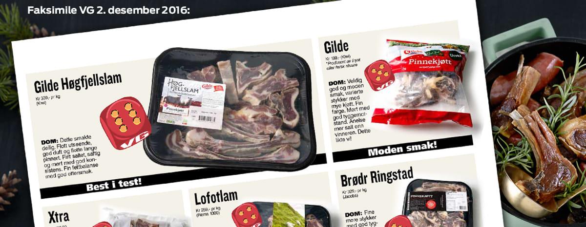 Pinnekjøtt av Høgfjellslam er best i test i VGs store julemat-test. Pinnekjøttet får du kun kjøpt hos KIWI.