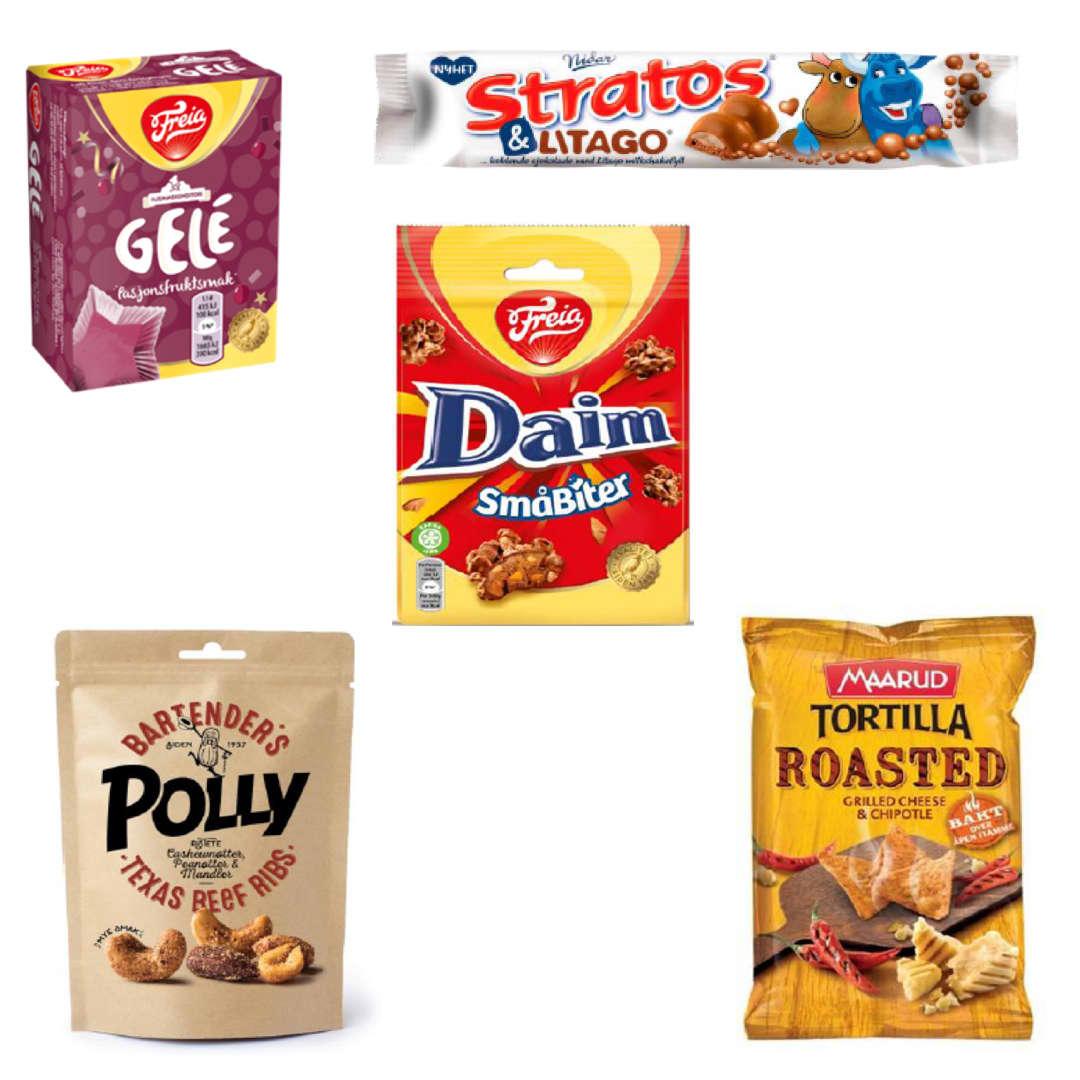 Pasjonsfruktgele, Stratos&Litago, Daim småbiter, roasted tortilla-chips og Texas beef-ribs er blant snacksnyhetene.