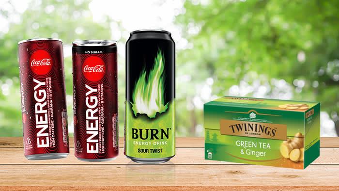 Nye energidrikker fra Coca-Cola og Burn, samt grønn te med ingefær fra Twinings.