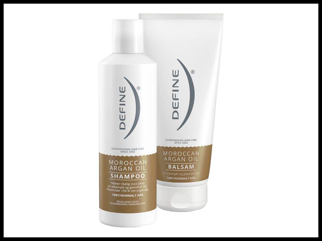 DEFINE SHAMPOO MOROCCAN ARGAN OIL 250ML: Inneholder ren arganolje som tilfører håret rikelig med fuktighet og pleie slik at fuktighetsbalansen gjenopprettes. Til tørt og normalt hår.  DEFINE MOROCCAN ARGAN OIL BALSAM 200ML: Balsamen inneholder leave-on UV-filter som beskytter mot skadelige UV-stråler. Til tørt og normalt hår.