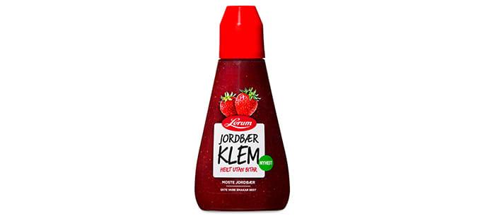 Jordbær KlemOgså jordbærsyltetøyet til Lerum er uten biter og gir deg en herlig smak av sommer gjennom hele året.