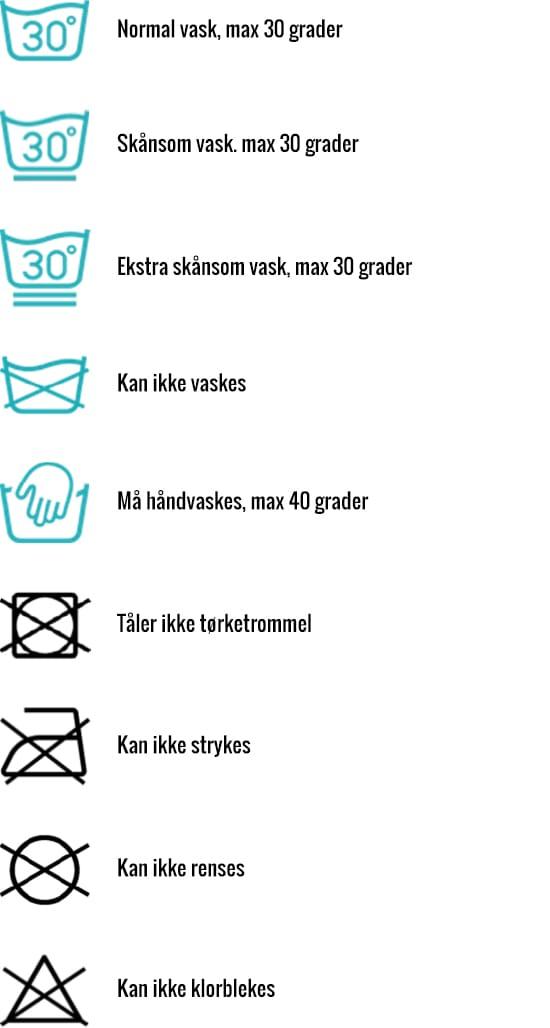 Dette er noen av de vanligste vaskesymbolene