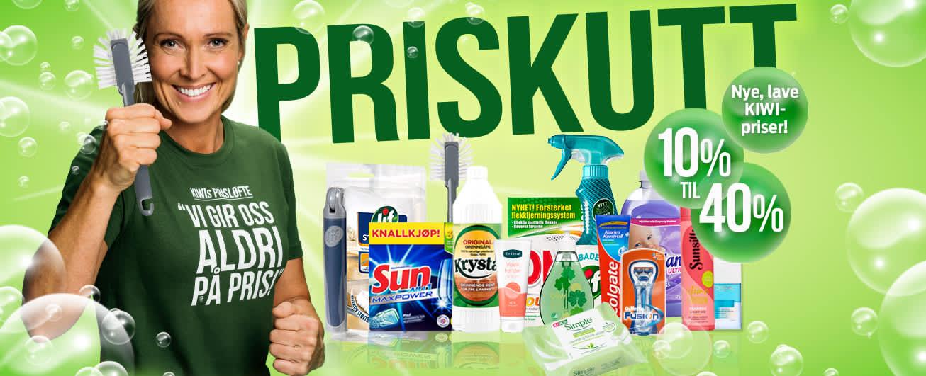 KIWI har nye lave priser på over 200 vaske- og hygieneprodukter.