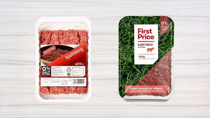 First Price kjøttdeig slik den så ut før, og slik den ser ut nå.