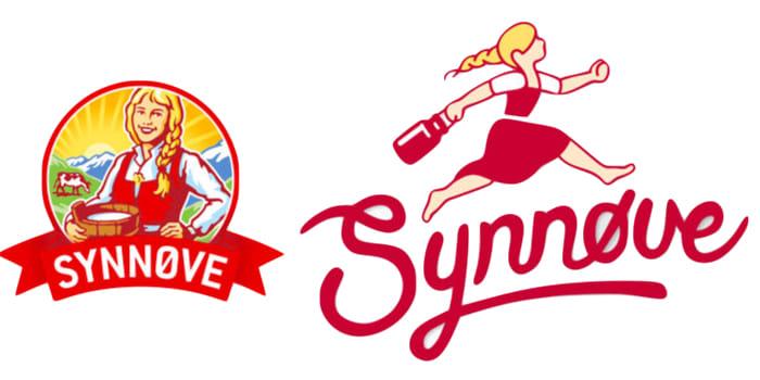 Her ser du forskjellen på gammel og ny Synnøve Finden-logo.