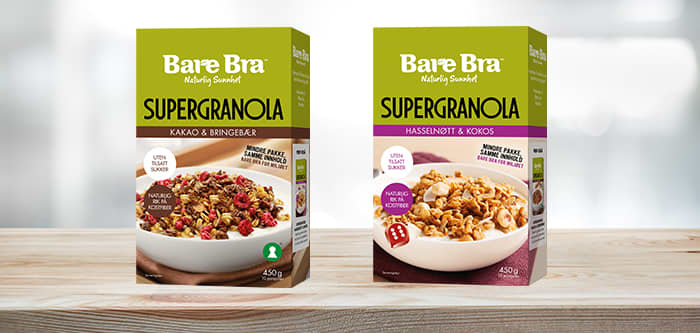 Bare Bra Supergranola finner du hos KIWI i smakene Kakao & bringebær og Hasselnøtt & kokos.
