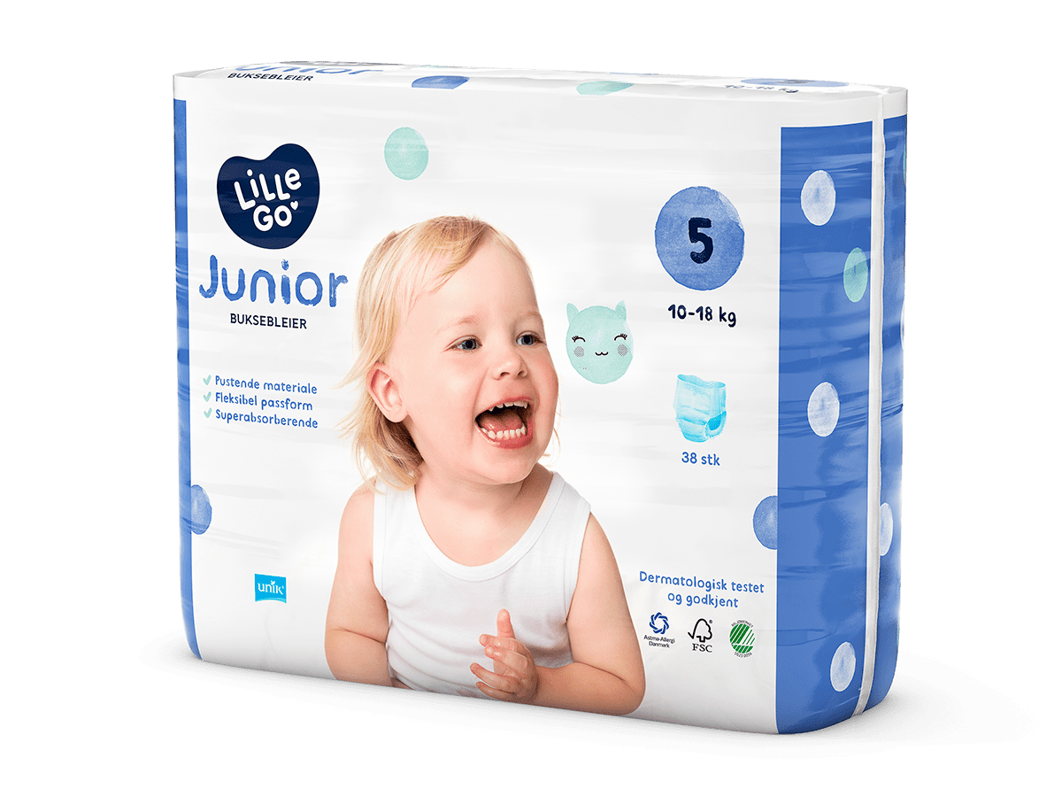 LilleGo´ Buksebleie junior, str 5 10-18 kg