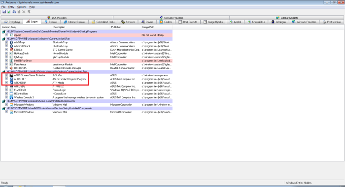 Screenshot of Sysinternals Autoruns logon tab highlighting  what we turned off from running automatically