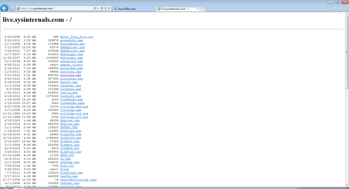 Screenshot of the listing of Sysinternals tools available from the live.sysinternals.tools website