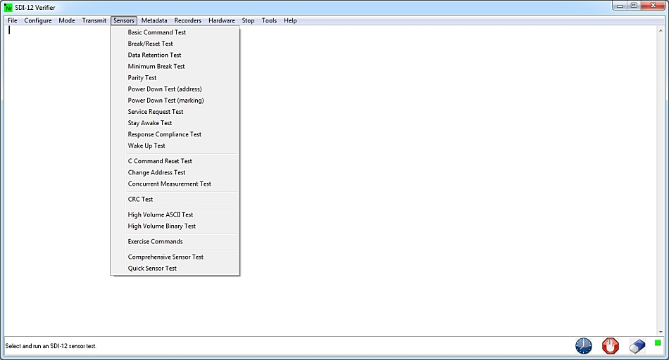 sensors menu