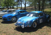 An original 19702 Alpine A110, and its brand new grandson, the new all-aluminium 2018 A110.