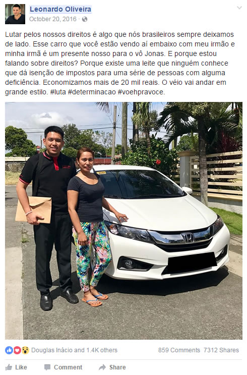 post do Leonardo Oliveira sobre o guia carro com desconto mais barato