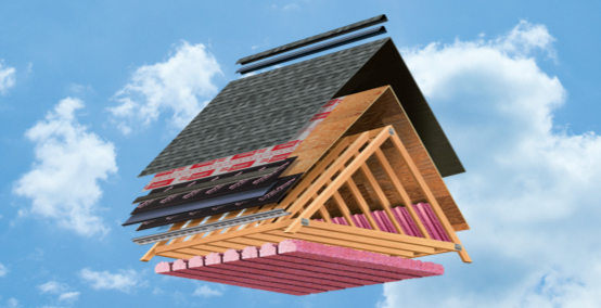 Exploded roof visualization showing the various layers of a roofing system.