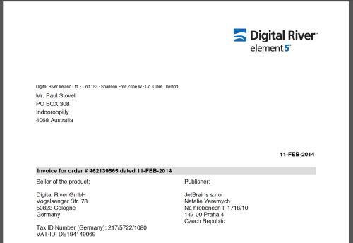 The invoice from Digital River and Element 5