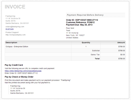 Invoice example