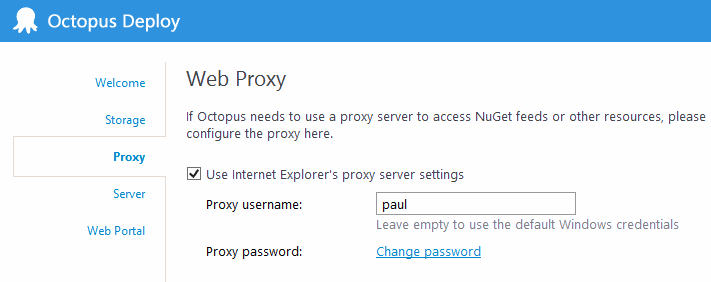 Specifying the proxy server