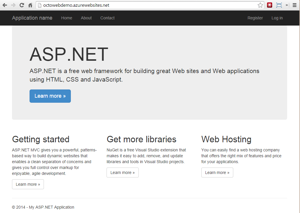 Azure Web Site running