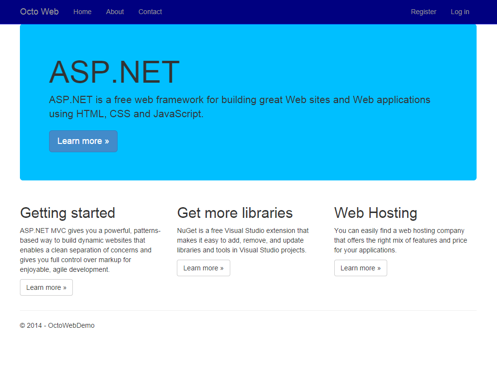 Modified Azure Web Site running