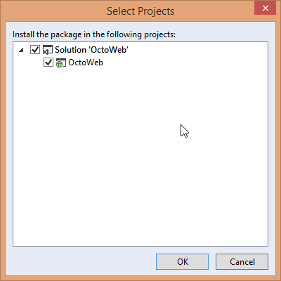 Select project to install OctoPack in