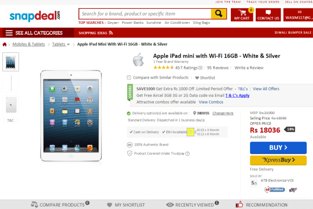Snapdeal EMI with iPad Mini