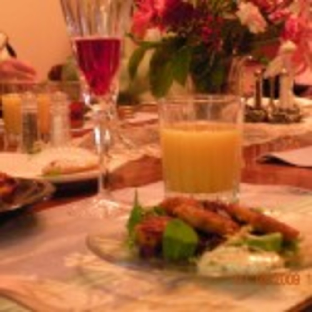 Dungeness Crab Cakes and Champagne on New Years' Day 2011 at Boreas Inn!