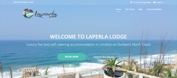 Okhela WordPress development and digital marketing for Laperla Lodge. View of the homepage.