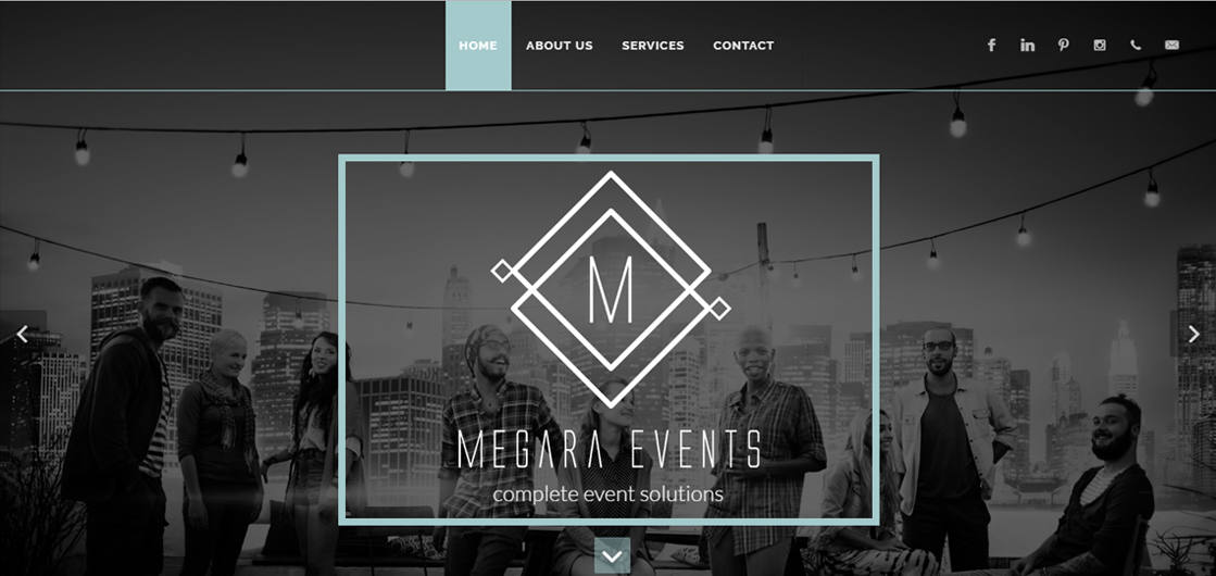 Web design and development for Megara Events. Cape Town, South Africa