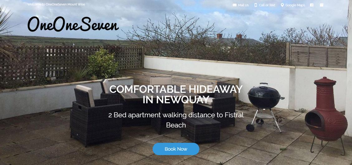 WordPress website for OneOneSeven. Newquay, UK