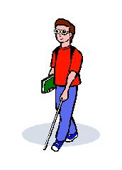 Blind man with walking stick