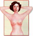 Auto-exame de mamas com as mãos atrás da cabeça