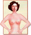 Auto-exame de mamas com braços na cintura